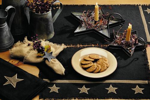 Burlap Star Black Short Table Runner
