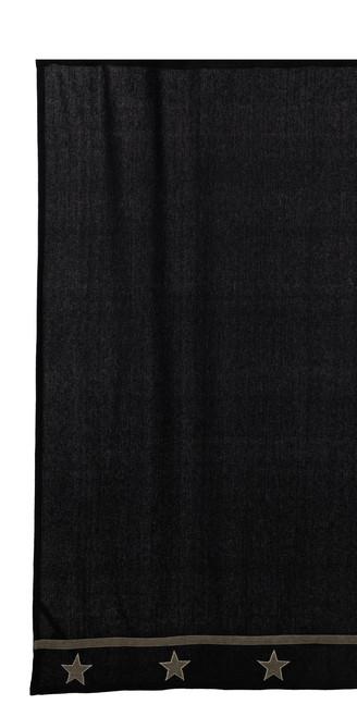Burlap Star Black Shower Curtain
