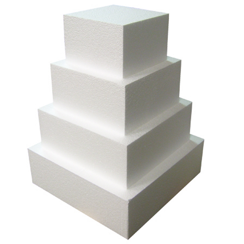 """Foam Square Dummy Cakes 4"""" High 120mm"""
