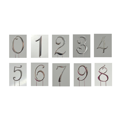 Silver Number Cake Toppers 7cm