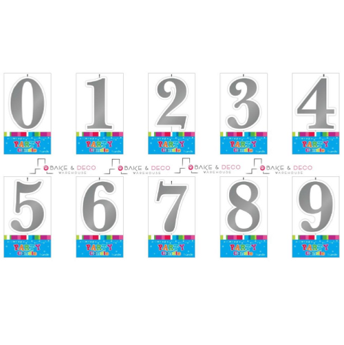 Silver Number Candles 0 - 9