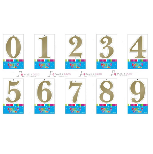Gold Number Candles 0 - 9