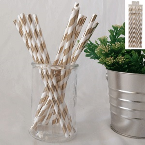Gold & white striped paper party straws