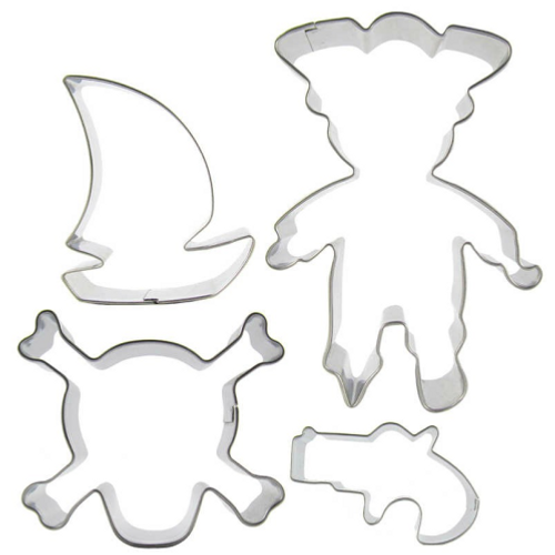 Pirate Themed 4pc Tin Plate Cutter Set