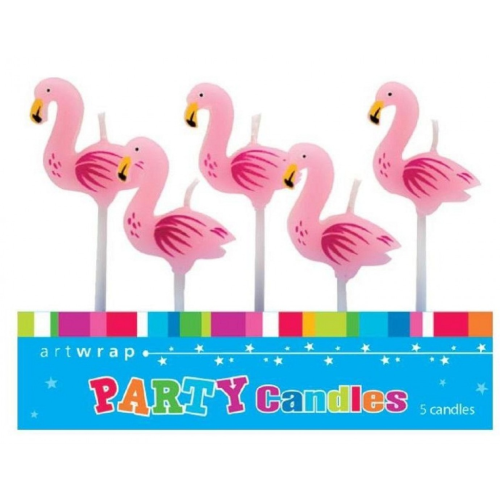 Flamingo 5pc Candles