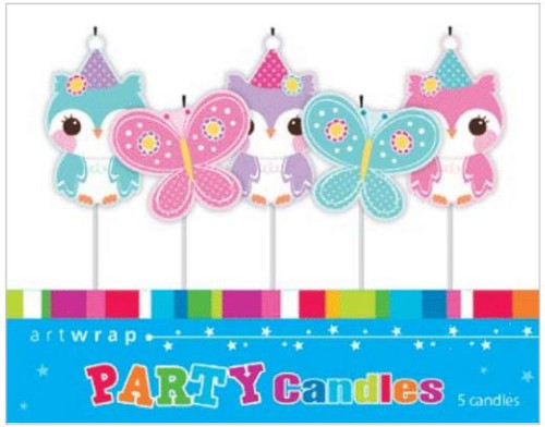 Owls & Butterflies 5pc Candle Set