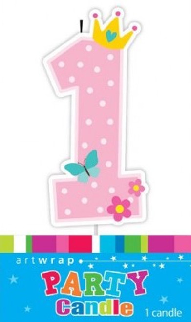 1st Birthday - Pink Dots Party Candle