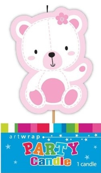 Pink Teddy Party Candle