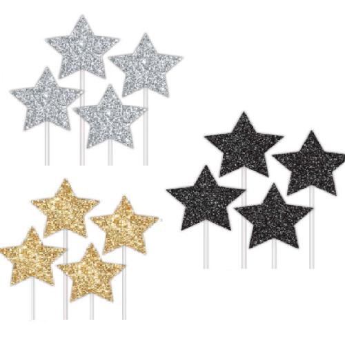 Cake Topper Glitter Stars 4pk