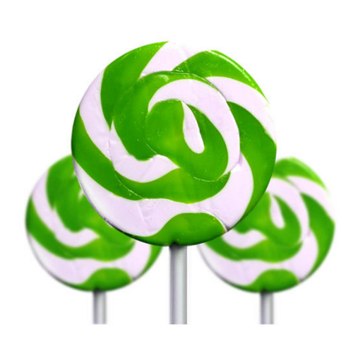 Medium Green and White Swirl Lollipop