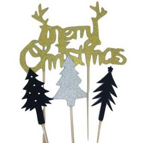 Merry Christmas Glitter Topper Pack