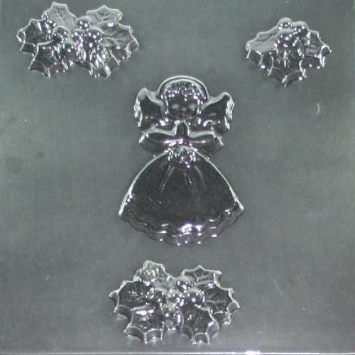 Angel & Holly Christmas Chocolate Mold #88