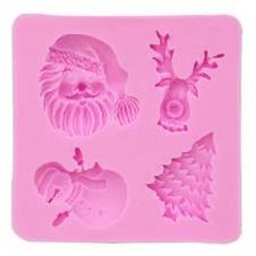 Santa, Snowman and Deer Cupcake Christmas Mold 4pc