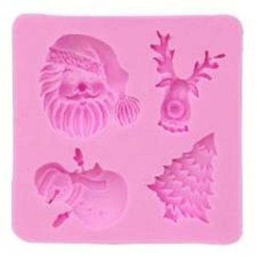 Santa, Snowman and Deer Cupcake Christmas Mold 4pc