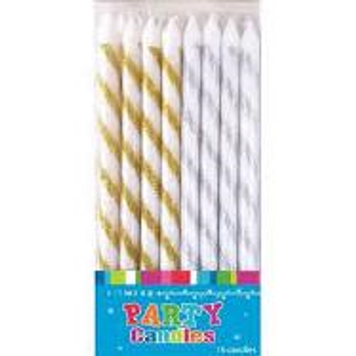 Artwrap Party Candles - Glitter Gold & Silver 16pk