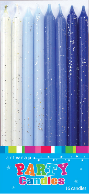 Artwrap Party Candles - Glitter Blues Each Candle measures 12cm tall and 0.5cm dia.