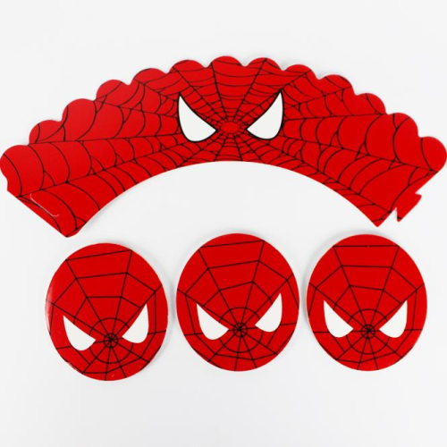 Cupcake Wrap & Toppers 12pc - Spiderman