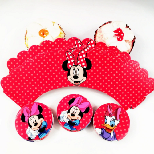 Cupcake Wrap & Toppers 12pc - Minnie Mouse & Daisy Duck