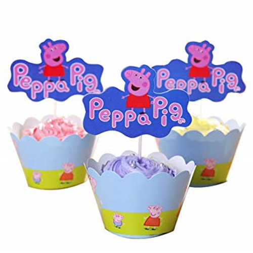 Cupcake Wrap & Topper 12pc - Peppa Pig