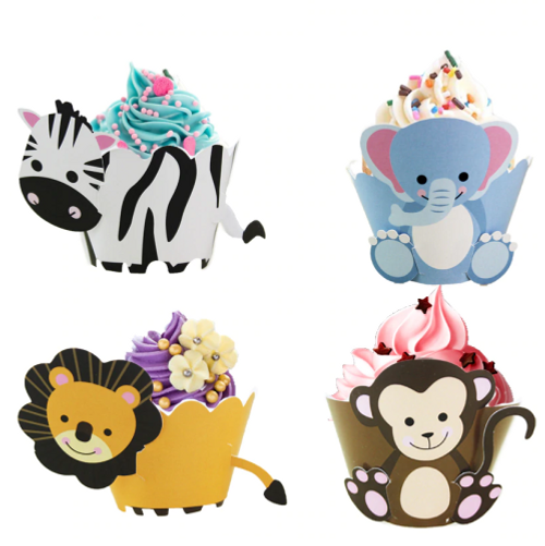 Jungle Animals Cupcake Wraps 12pc
