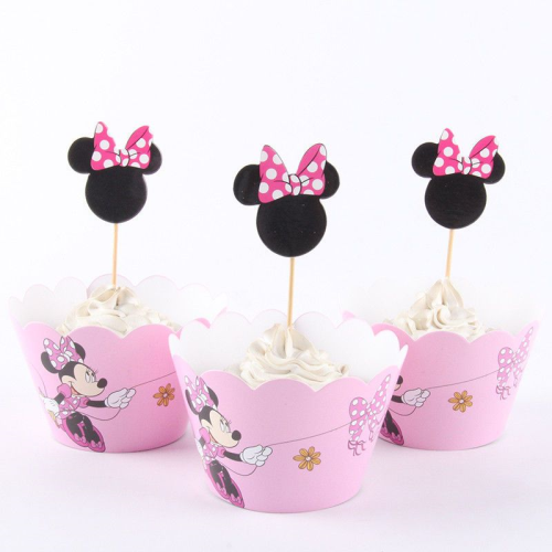 Cupcake Wrap & Toppers 12pc - Minnie Mouse
