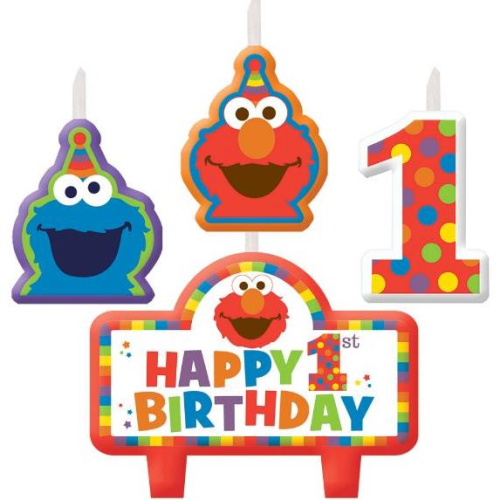 Sesame Street 1st Birthday Candle Set 4pc