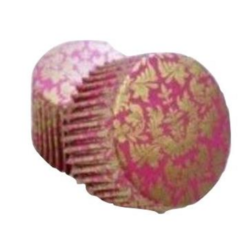 Paper Cupcake Cases Regular 20pk - PINK & GOLD METALLIC HIGH TEA