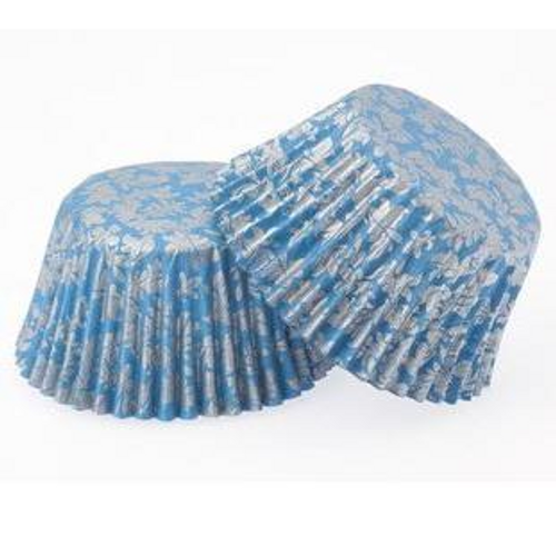Paper Cupcake Cases Regular 20pk - BLUE & SILVER METALLIC HIGH TEA