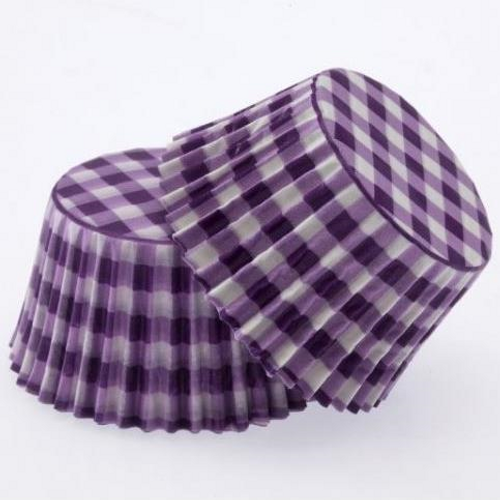 Paper Cupcake Cases Regular 20pk - GINGHAM PURPLE