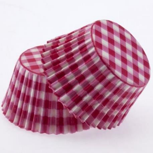 Paper Cupcake Cases Regular 20pk - GINGHAM PINK
