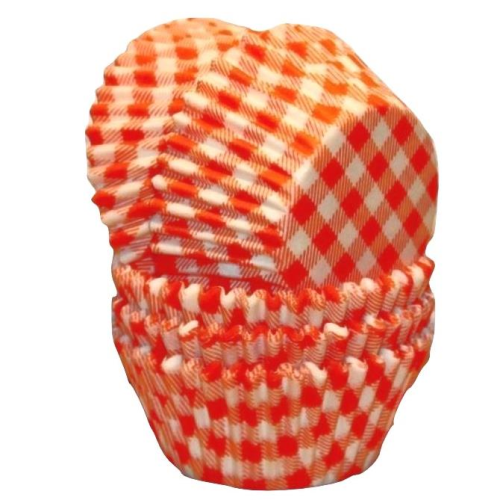 Paper Cupcake Cases Regular 20pk - GINGHAM ORANGE