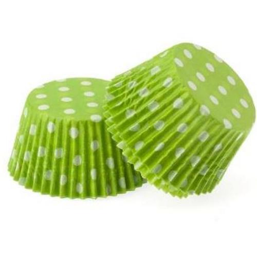 Paper Cupcake Cases Regular 20pk - GREEN & WHITE POLKA DOTS