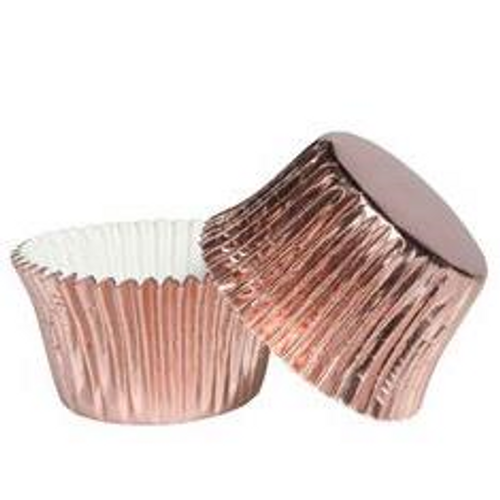 Foil Metallic Cupcake Cases 25pk - ROSE GOLD