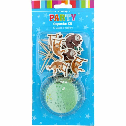 Cupcake Kit Art Wrap 12 Cups & Toppers - Jungle