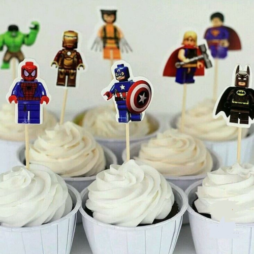 Cupcake Toppers 24pc - Lego Superhero