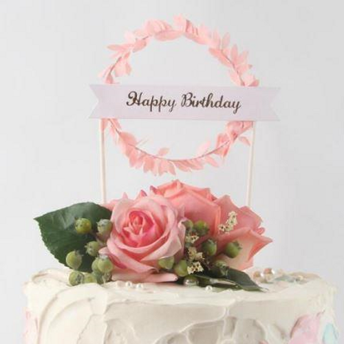 Cake Topper Happy Birthday Bunting & Garland - Pink
