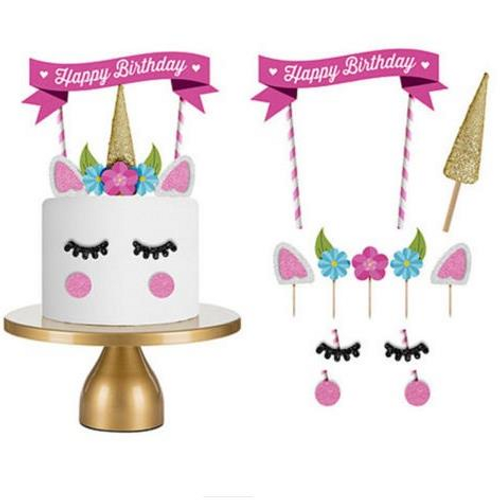 Cake Topper 11pc Bunting & Unicorn Set