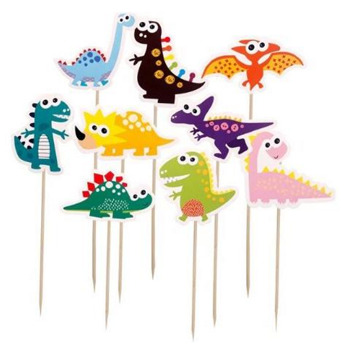 Cupcake Toppers 9pc - Bright Dinosaurs