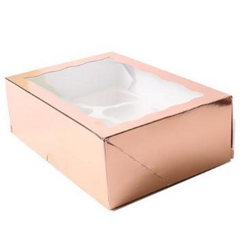 Cupcake Box With PVC Window (6 Cavity) - ROSE GOLD