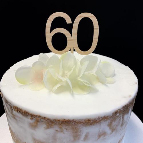 Cake Topper '60' 5cm - BAMBOO