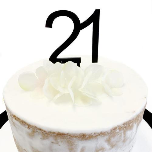 Cake Topper '21' 7cm - BLACK