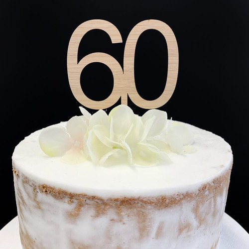 Cake Topper '60' 7cm - BAMBOO