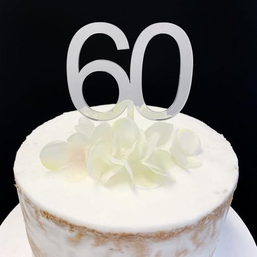Cake Topper '60' 7cm - SILVER