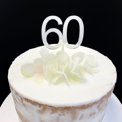 Cake Topper '60' 5cm - SILVER
