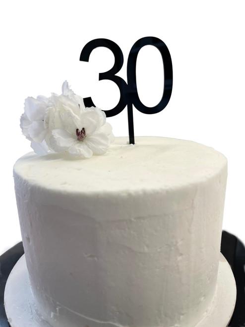 Cake Topper '30' 7cm - BLACK