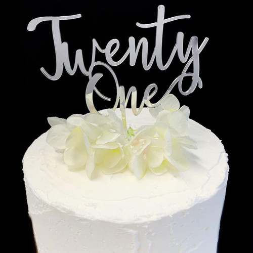 Cake Topper TWENTY ONE (Age Script) - SILVER