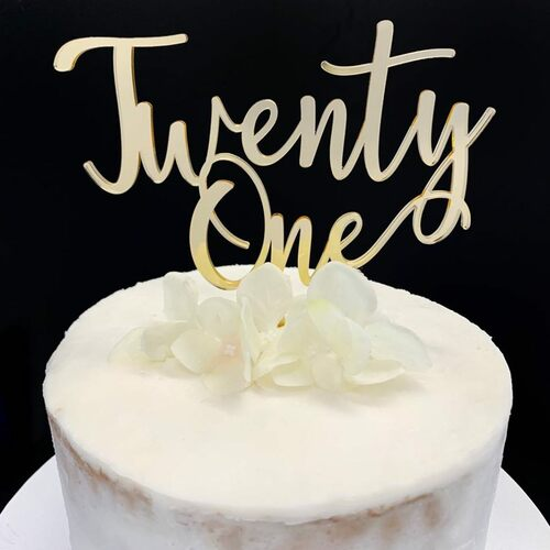 Cake Topper TWENTY ONE (Age Script) - GOLD
