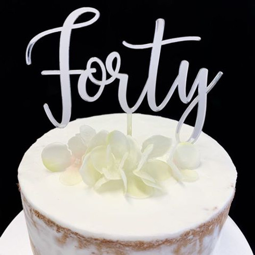 Cake Topper FORTY (Age Script) - SILVER