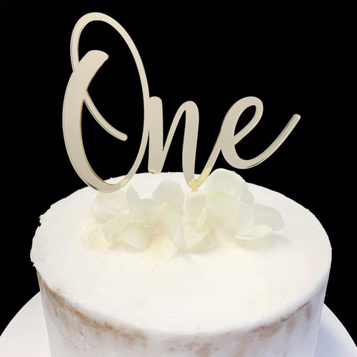 Cake Topper ONE (Age Script) - GOLD