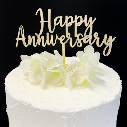 Cake Topper HAPPY ANNIVERSARY - GOLD